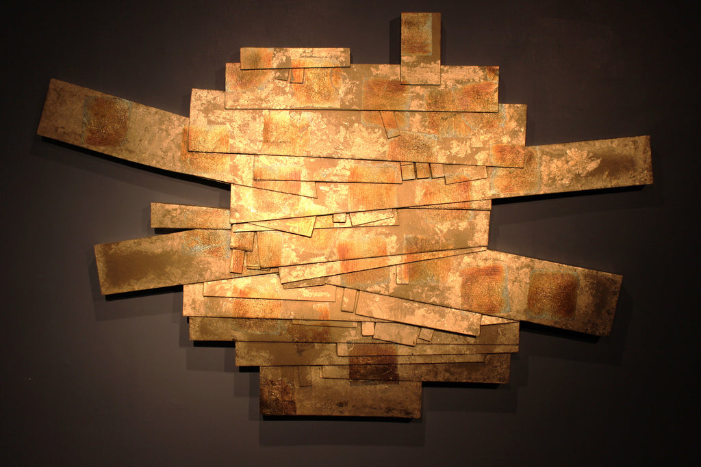 Michael Furrh / Lily, wood, paint, gold and metal leaf, dimensional wall sculpture by Michael Furrh