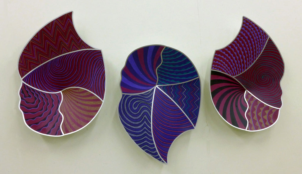 Purple Vessels / 20 x 30 x 4 each / stainless, oil
