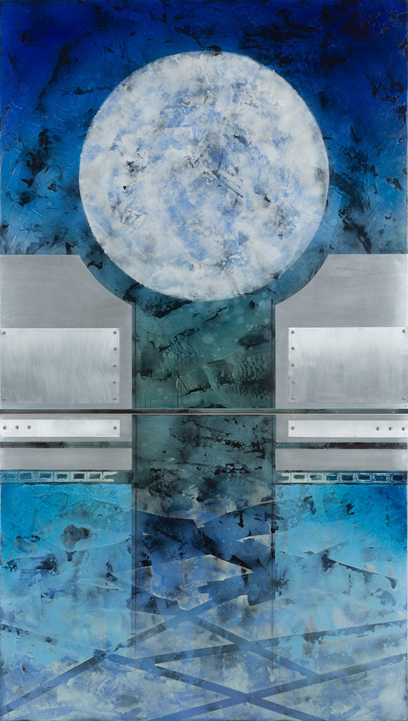 Moon Sentinel II / 84 x 48 x 2.5 / oil glazes - marble dust - metal on wood