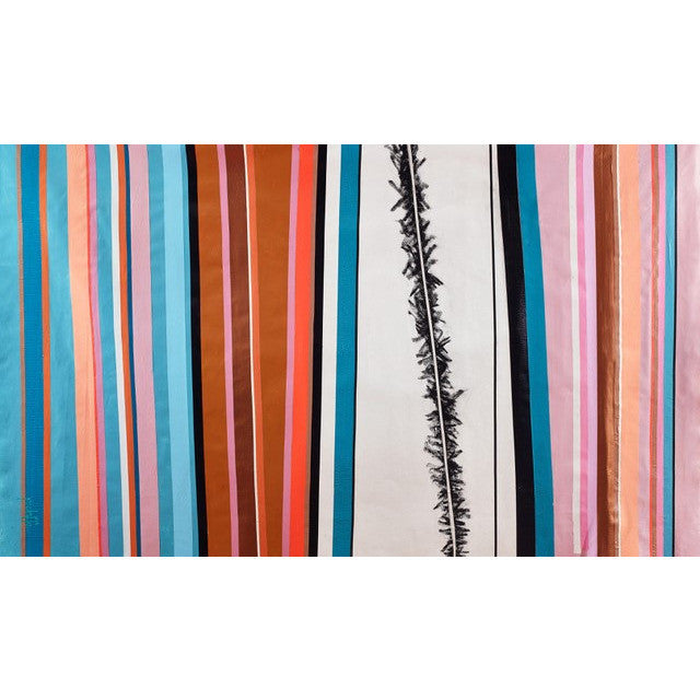 Fences - Point. Line. Plane. #14 Blue, orange and pink striped abstract painting by Phyllis Jaffe. Original art for sale by Curated Spaces