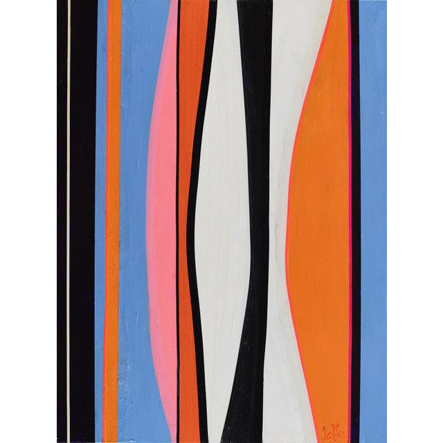 Orange Glow - Point.Line.Plane #10 by Phyllis Jaffe. Abstract striped painting with blue, orange and pink. Original fine art for sale by Curated Spaces.