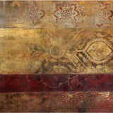 Abstract red and gold painting with ornamental surface detail. Original art for sale by ADC Fine Art.