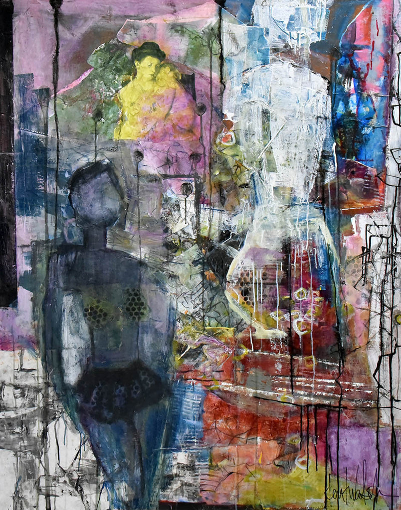 Passion and Sacrifice / 48 x 60 / paper, paint, acrylic and ink on canvas
