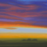 Evening Blaze. Sunset painting with clouds of orange and blue by Patrice Erickson.