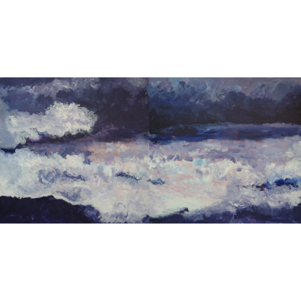 Diptych featuring storm clouds over sea. Original acrylic painting by Rosemarie Bloch.
