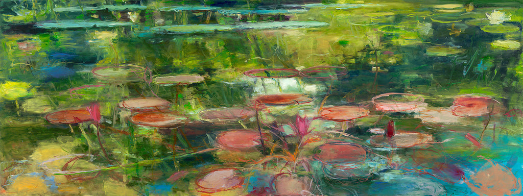 Pink Pond / 32x80 / oil on panel