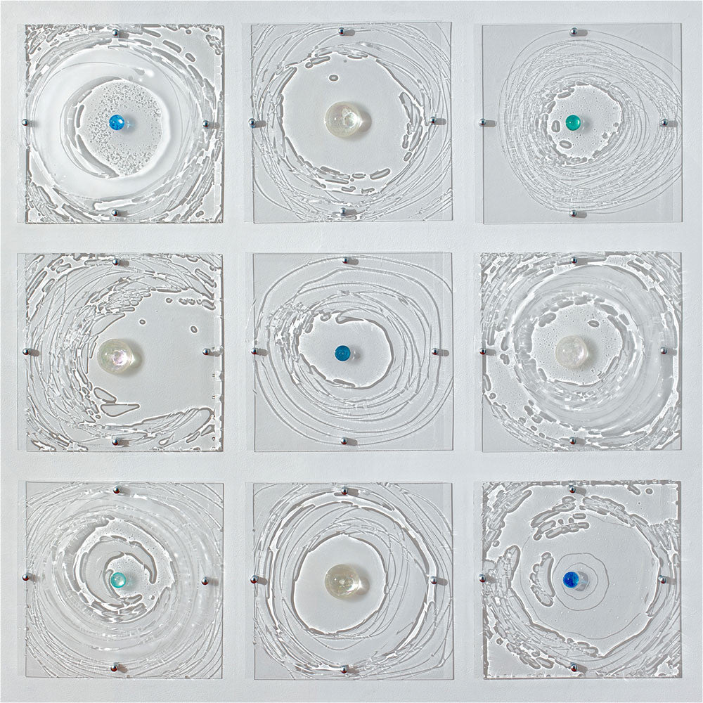Ripple Effect / 15 x 15 each / resin on plexiglas panel installation