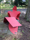 Ladies of Steel Series: Falling Woman and Seated Woman Red / 67 x 66 x 72 and 60 x 48 x 96 / welded steel and red welded steel