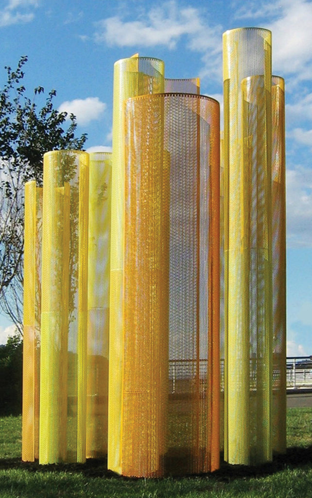 Transparent - Color Field Sculpture with Yellows / 7' x 10' x 7' / powder coated perforated aluminum