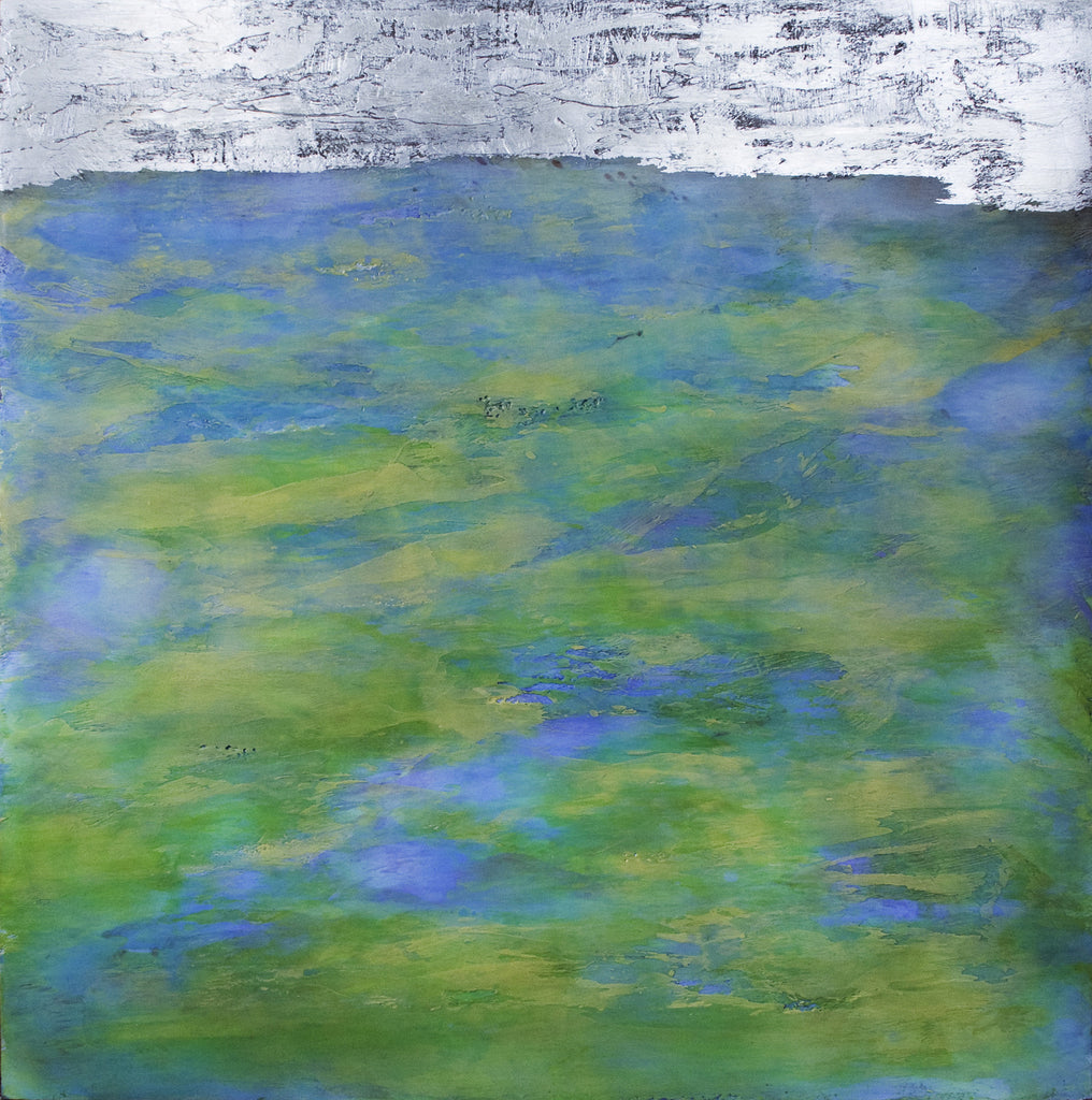 Silver Shore, encaustic & oil with silver leaf, painting by Debra van Tuinen