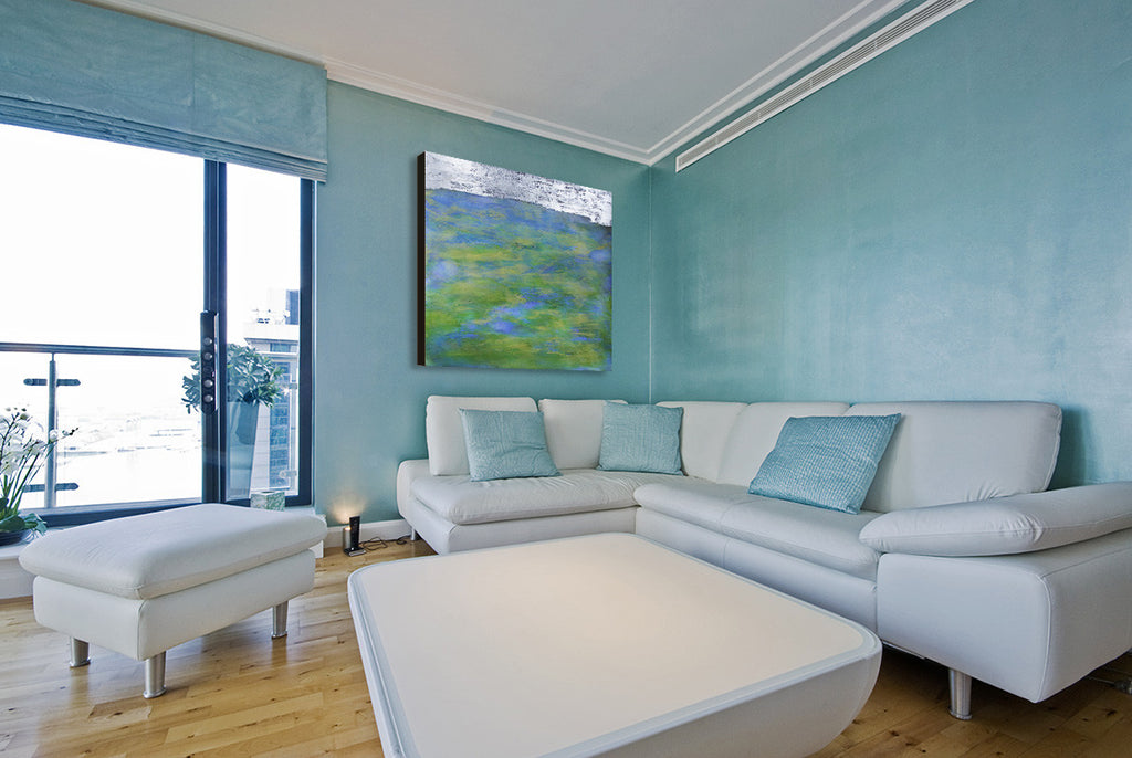 Silver Shore (interior), encaustic & oil with silver leaf, painting by Debra van Tuinen