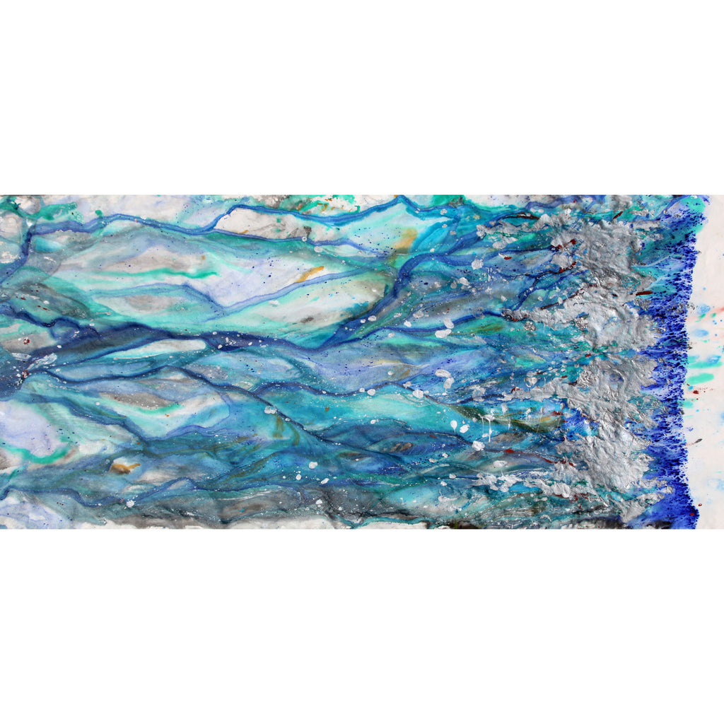 Oversized acrylic painting by Laura McClanahan. Water patterns flowing in shades of blue and silver.