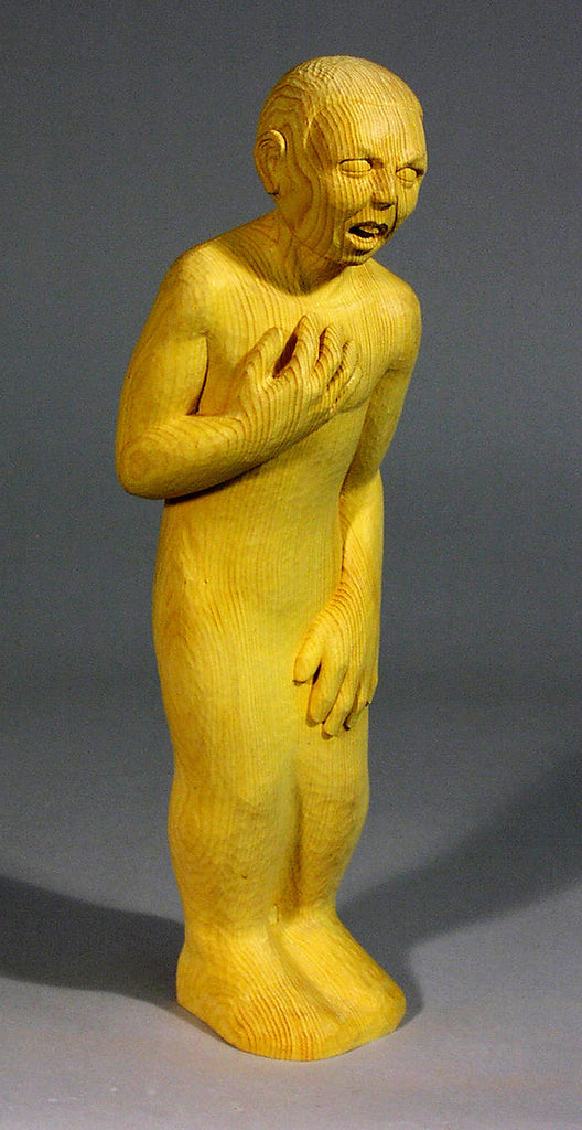 Paul Reiber / Softened by Grief /basswood, walnut pigments and copper leaf / 6 x 22 x 6 in