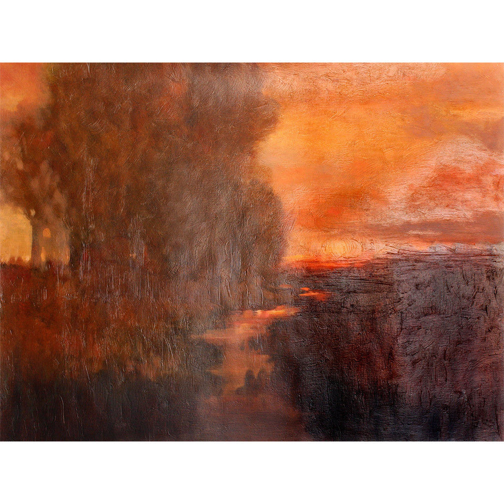 Landscape with trees on a river featuring sunset of deep reds and oranges. Original painting for sale by ADC Fine Art.