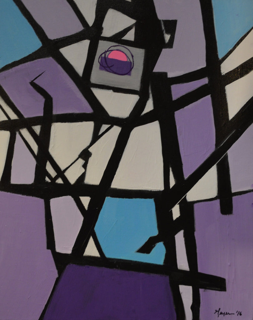 Treasure Nest. Purple with black lines, abstract painting by Tom Geyer.