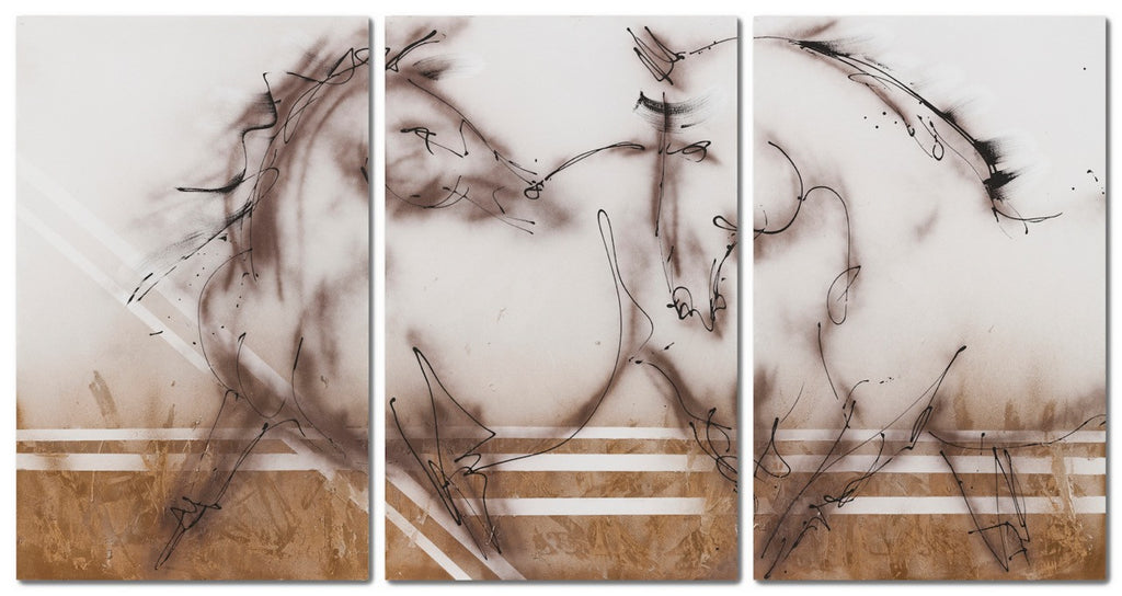 Two Horses / 90 x 50 / triptych acrylic - ink archival spray on canvas