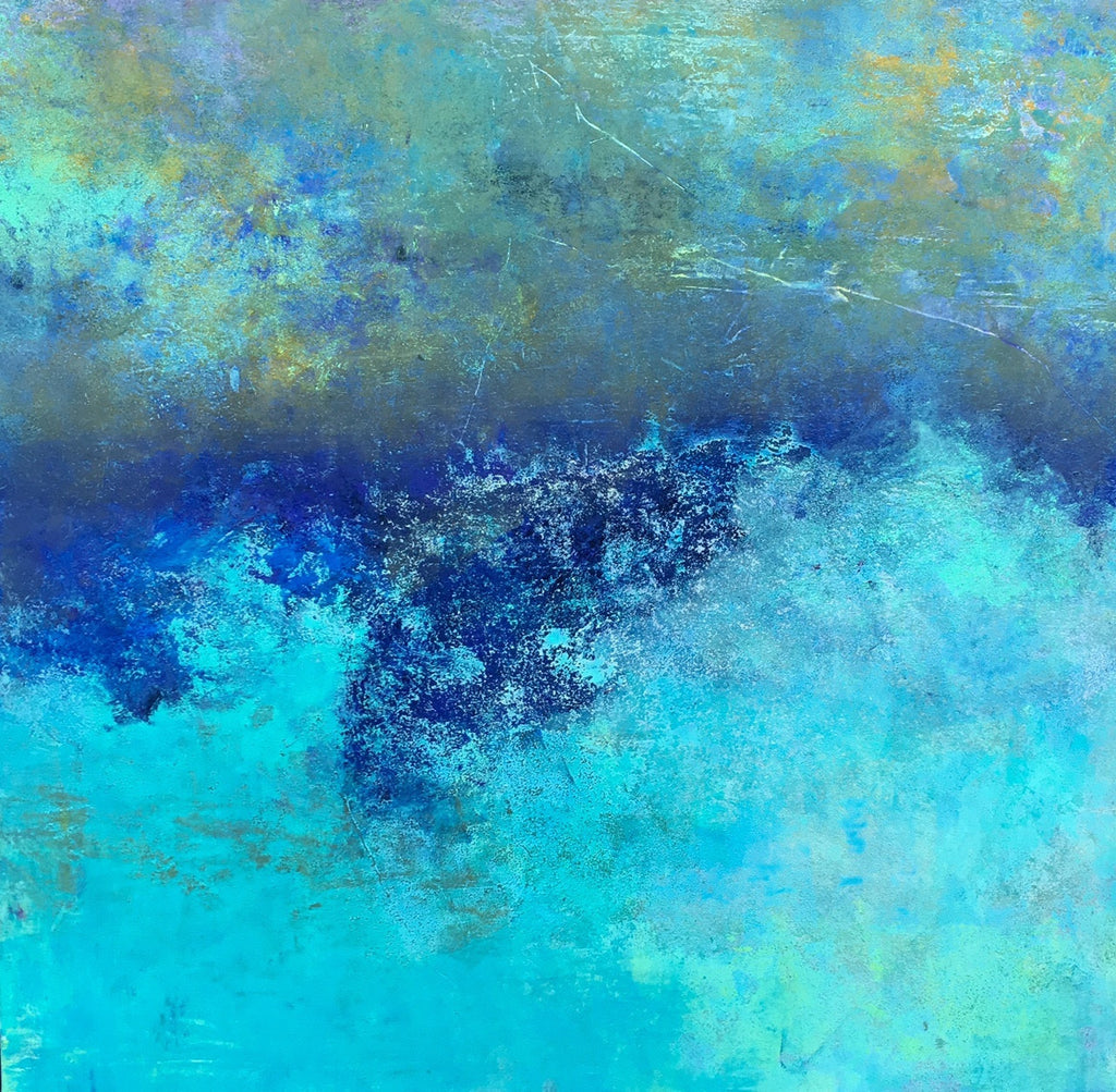 Vibrant Seas / 30 x 30 / oil and cold wax on cradled board