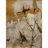 Painting of magnified white flowers on beige background. Original art for sale by ADC Fine Art.