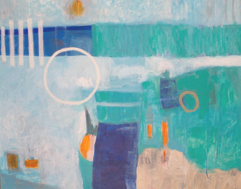 Wrapped in Blue / 30 x 24 / acrylic and latex house paints with oil stick on canvas