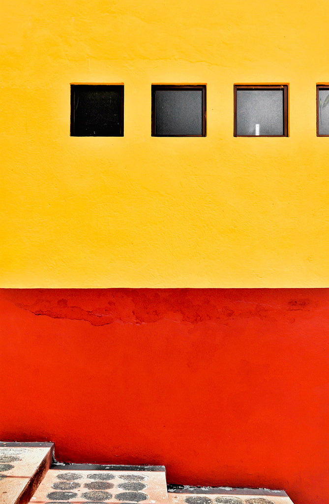Yellow and Red Wall and Steps, Cholula, Mexico – Blink Art