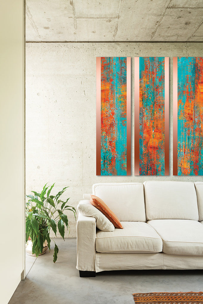 Mandarin Orange Triptych / 48 x 14 / transfer onto copper sheet and covered with acrylic resin