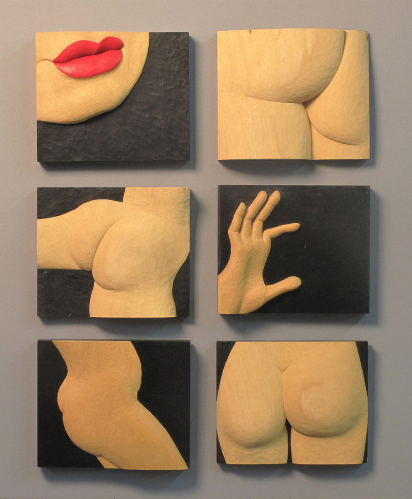 Paul Reiber / Figure studies / 7.5 x 9 x 1.75 each / Jeluetong wood and pigments