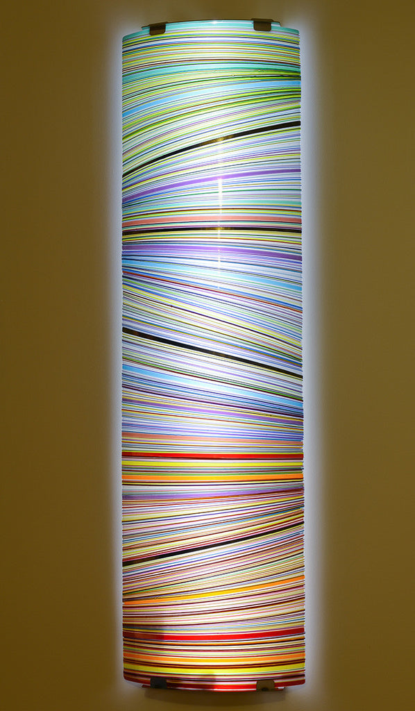 Colour Wall Series 1 / 17 x 56 / fused and bent glass - metal bracket - LED light included
