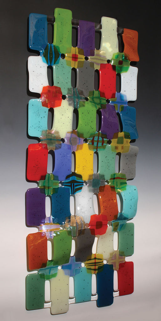 Nina Cambron / Kaleidoscope / 21 x 54 x 3 / fused and slumped glass