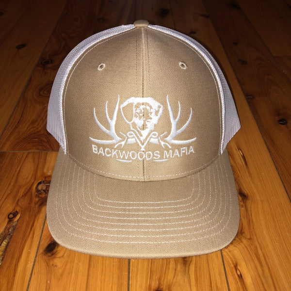 Khaki/White and White Logo Snapback