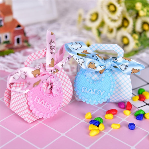 12pcs Bear Shape DIY Gift Christening Baby Shower Party Favor Boxes Paper Candy Box With Bib Tags & Ribbons - CheckaBaby