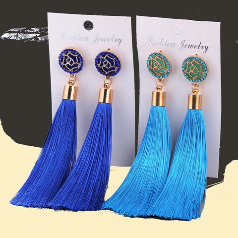 Bohemian Crystal Tassel Earrings Silk Fabric Exaggerated Rose Flower Long Drop Dangle Tassel Earrings For Women Jewelry ZD03 - CheckaBaby
