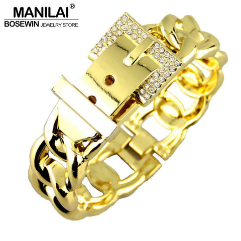 MANILAI Fashion Women Belt Design Bracelets Accessories Zinc Alloy Rhinestones Metal Charm Cuff Bangles Statement Jewelry - CheckaBaby
