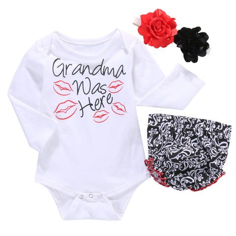 3-pieces Newborn Baby Girls Tops Long Sleeve Kiss Romper+PP Pants+Flower Headband for your Cute Little Darling - CheckaBaby
