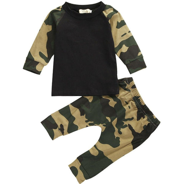 0-24M Autumn Spring Kids Camouflage set for Baby Boys - Long Sleeve Tops + Pants Outfit Set - CheckaBaby
