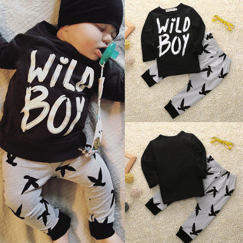Fashion Baby Wild Boy Clothes - Long Sleeve Tops+Pants  - Baby Winter Clothes - CheckaBaby