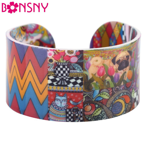 Bonsny Acrylic Cute Colorful Pattern Bangles Fashion Jewelry Women Girl Spring Summer Accessories Bracelets - CheckaBaby
