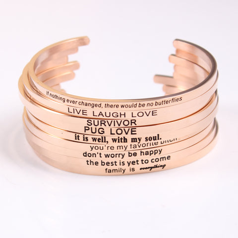 New Rose Gold Stainless Steel Engraved Positive Inspirational Quote Hand Stamped Cuff Bracelet Bangles For Women Best Gifts - CheckaBaby