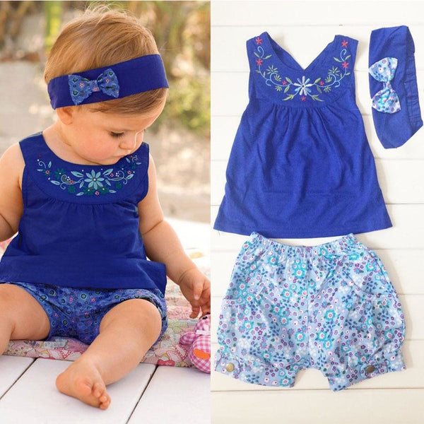Baby girl Tops and Shorts + Headband -  3pcs a set  for Newborn Girl  0-24M - CheckaBaby