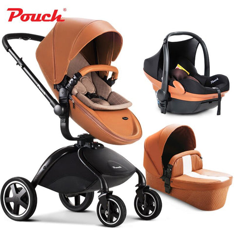 2017 Pouch baby stroller 3 in 1 baby stroller  leather white red black orange color car seat baby sleeping basket baby car - CheckaBaby