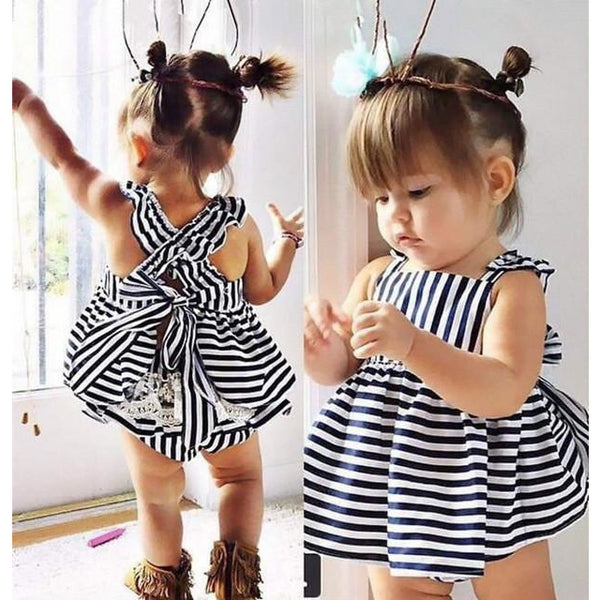 Backless Dress Bow Cotton Briefs 2Pcs Set -  Girls Clothing Summer Sunsuit Outfit Stripe - CheckaBaby