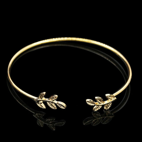 SL163 2017 Leaves Gold & Silver Plated Bracelets & Bangles Fashion Open Bangle Women Cuff Bracelet - CheckaBaby