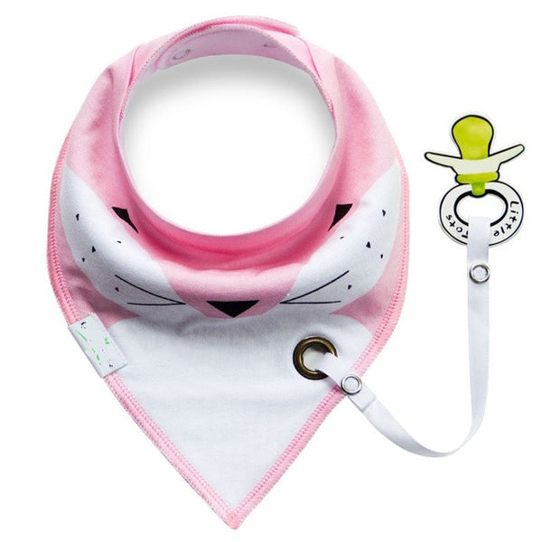 New Fashion Baby Bib Slobber with Pacifier Unique Cartoon Triangle Cotton Towel - CheckaBaby