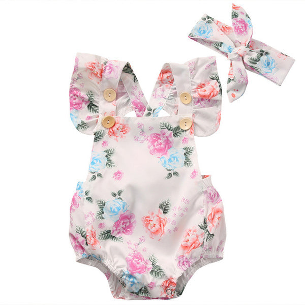 2017 Cute Floral Infant Baby Girls Summer Flower Romper Sunsuit+Headband Cotton Outfits Set Clothes - CheckaBaby