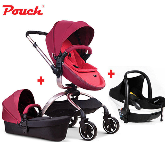 2017 Pouch baby stroller 3 in 1 baby stroller leather white red ...