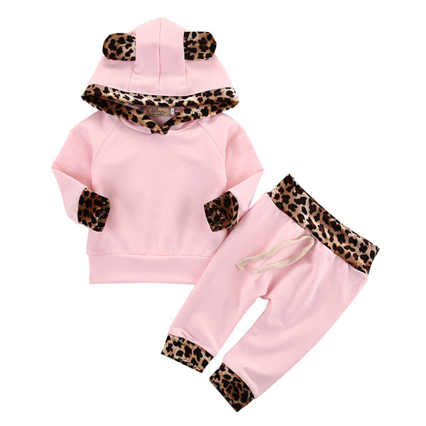 2pcs Newborn Infant Baby Boy and Girl Fashion Toddler Kids Leopard Hoodies Top Pant Bebek Giyim Clothing Set - CheckaBaby