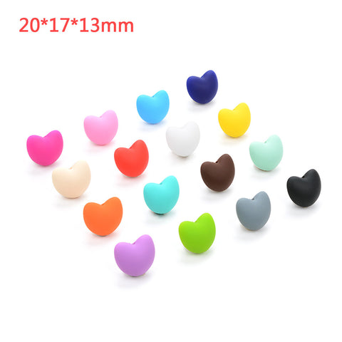 50 Pieces Hot Heart Shape Loose Silicone Beads For Teething – DIY for your Baby - CheckaBaby