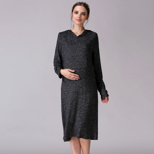 Emotion Moms Long Sleeve  Maternity  Dress with Breast Feeding - CheckaBaby