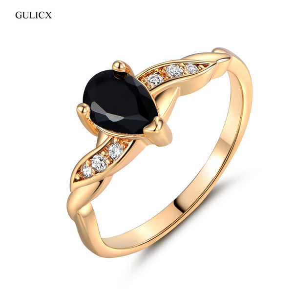 GULICX 2017 Fashion Finger Teardrop Rings for Women Gold-color Ring Black Crystal Cubic Zirconia CZ Engagement Rings - CheckaBaby