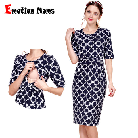 Emotion Moms New Cotton Maternity Dresses Breastfeeding Dress - CheckaBaby