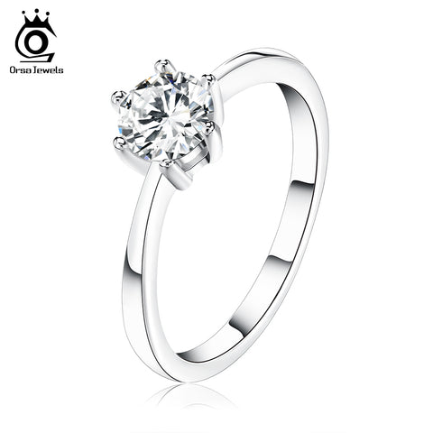 ORSA JEWELS Popular Girls Finger Rings Austrian Cubic Zirconia Solitaire Rings, Silver Color Rings for Wedding - CheckaBaby